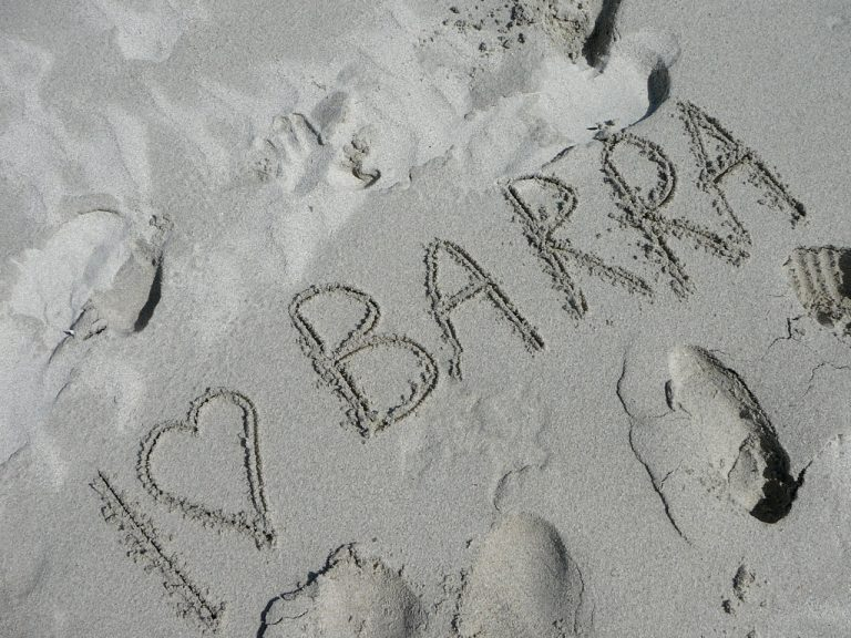 I love Barra written in the sand